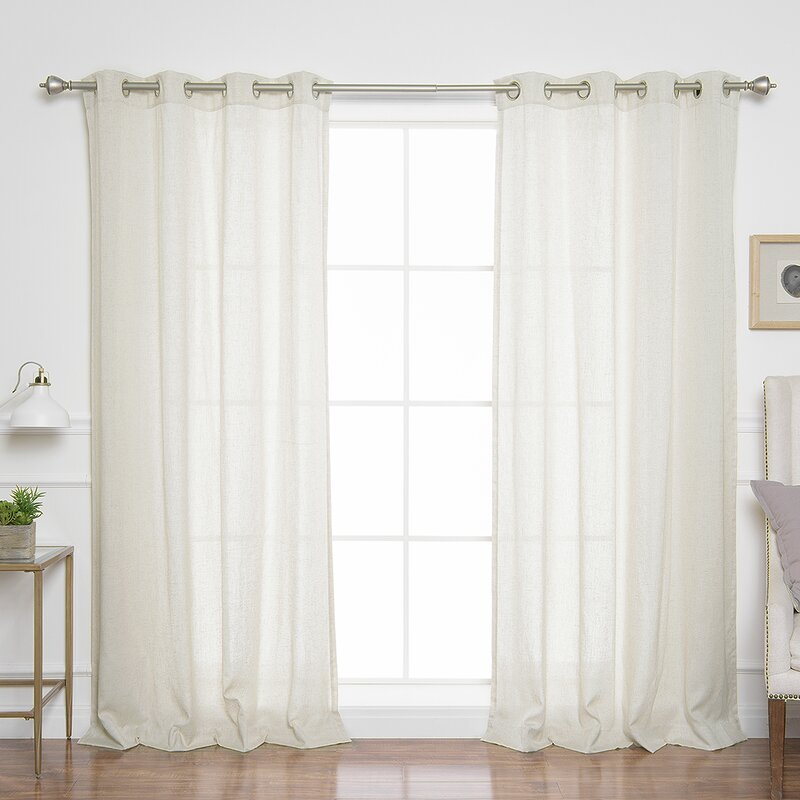 Covin Faux Linen Solid Semi Sheer Grommet Curtain Panels Inside Ombre Faux Linen Semi Sheer Curtains (View 29 of 50)