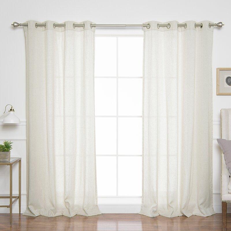 Covin Faux Linen Solid Semi Sheer Grommet Curtain Panels Inside Ombre Faux Linen Semi Sheer Curtains (#14 of 50)