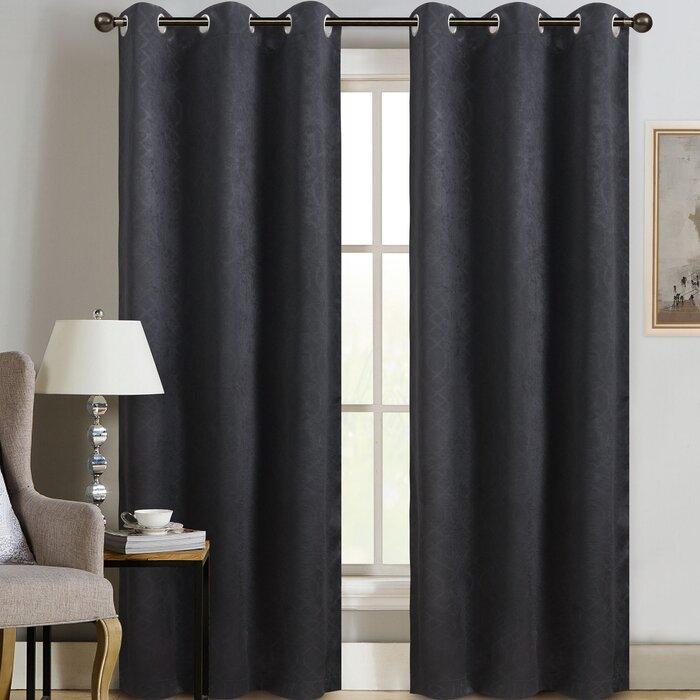 Crary Weave Embossed Geometric Room Darkening Thermal Grommet Single  Curtain Panel Inside Embossed Thermal Weaved Blackout Grommet Drapery Curtains (View 14 of 42)