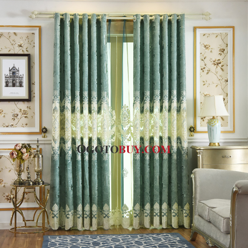 Cream Mint Green Curtains Blackout Embroidery Damask Ombre Inside Ombre Embroidery Curtain Panels (View 3 of 50)