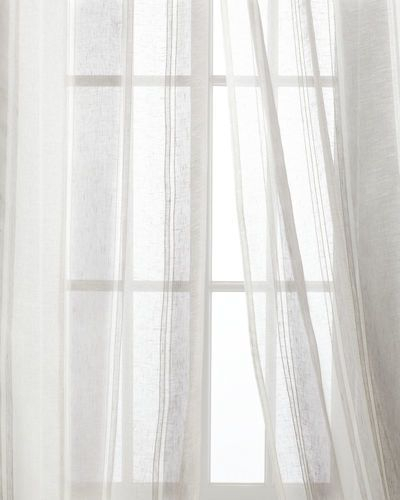 Creative Threads Each 54W X 108L Shimmer Stripe Linen Sheer Within Montpellier Striped Linen Sheer Curtains (#13 of 50)