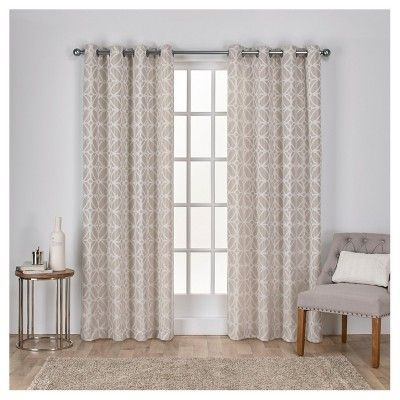 Cressy Geometric Textured Linen Jacquard Grommet Top Window Throughout Essentials Almaden Fretwork Printed Grommet Top Curtain Panel Pairs (#4 of 38)