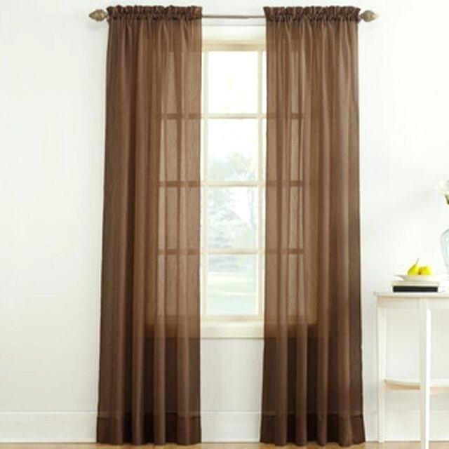 Crushed Voile Sheer Panel Inch Rod Pocket Window Curtain In Regarding Erica Crushed Sheer Voile Grommet Curtain Panels (#19 of 50)