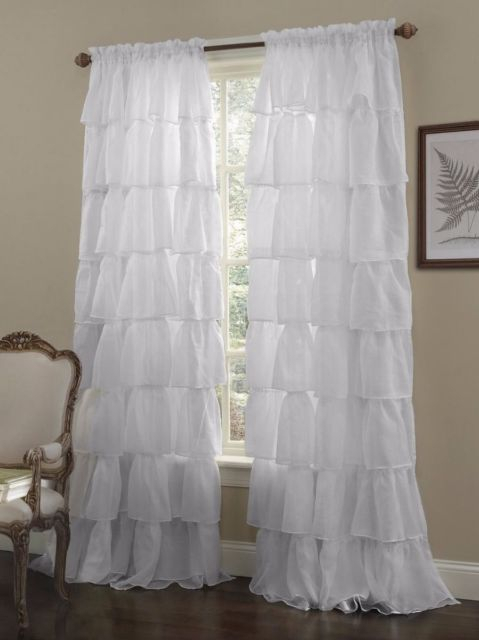 Crushed Voile Sheer Shabby Chic Ruffle Window Curtain Panel White, 60Wx63L Throughout Sheer Voile Ruffled Tier Window Curtain Panels (View 12 of 50)