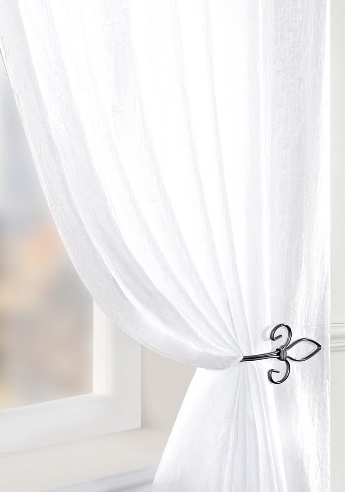 Crushed White Voile Panel With Regard To Extra Wide White Voile Sheer Curtain Panels (View 8 of 50)