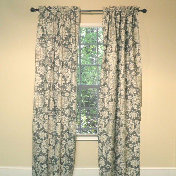 Curtain Panel Dark Grey Print Within Grey Printed Curtain Panels (View 9 of 48)