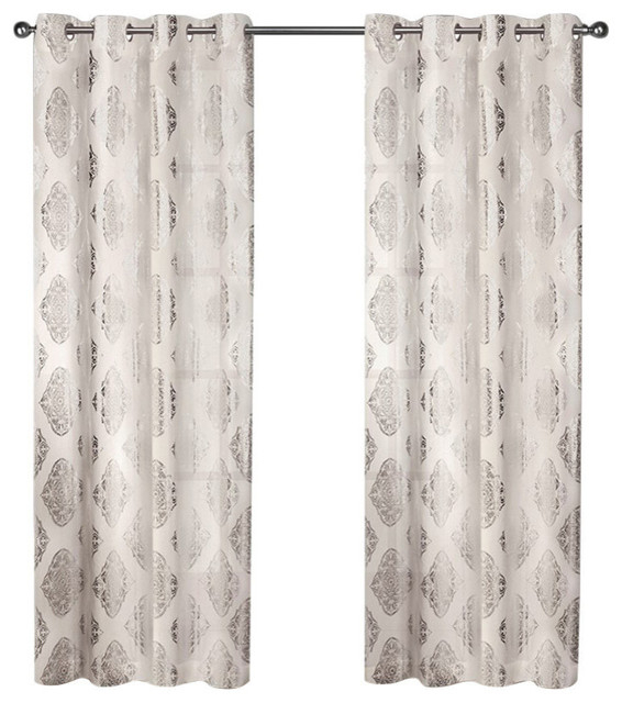 "Curtain Panel Pair, Set Of 2, Off White, 54""x96"" With Regard To Rowley Birds Room Darkening Curtain Panel Pairs (View 15 of 49)"