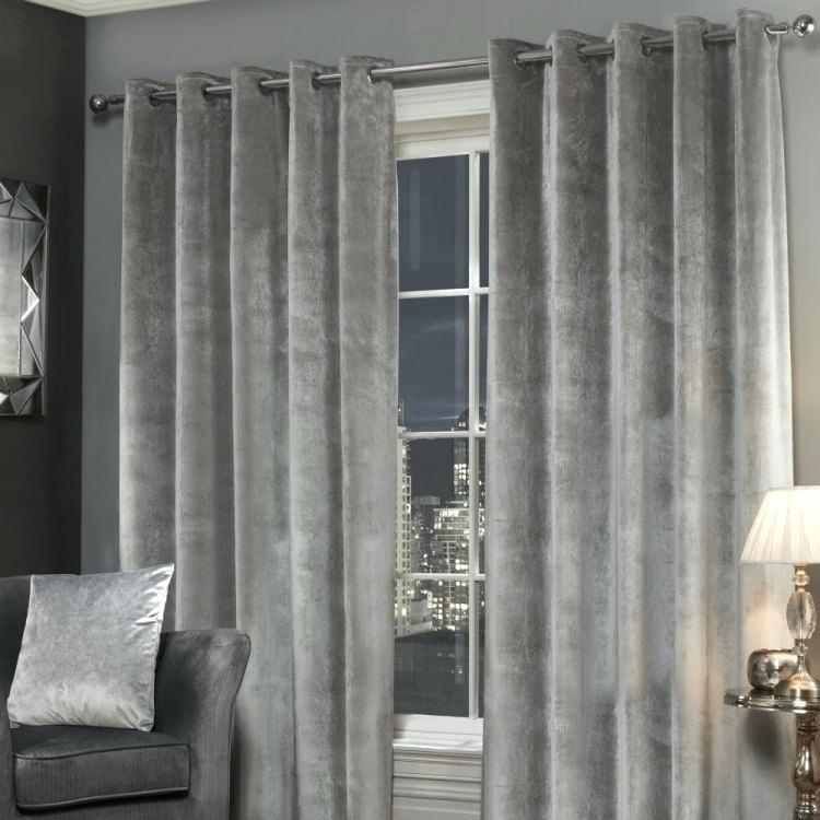 Curtain Silver Velvet Curtains Grey Eyelet Crushed In Heritage Plush Velvet Curtains (View 8 of 50)