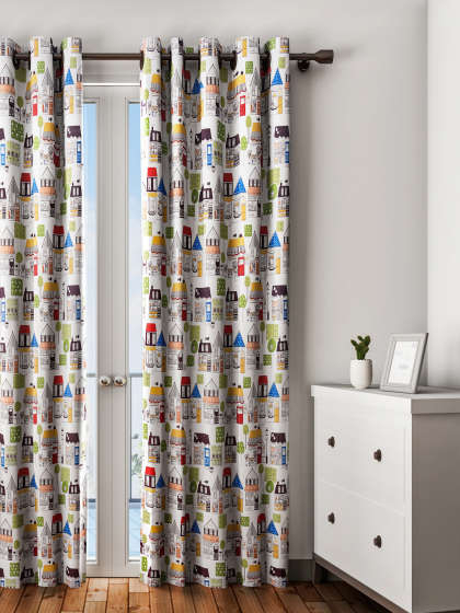 Curtains – Buy Window Curtains & Door Curtains Online | Myntra In Ikat Blue Printed Cotton Curtain Panels (#15 of 50)