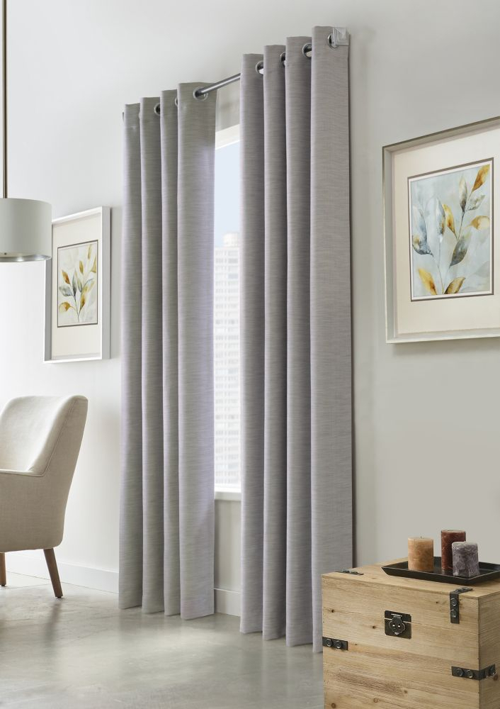Curtains & Drapes – Window Treatments | The Home Depot Canada With Regard To Overseas Faux Silk Blackout Curtain Panel Pairs (#10 of 41)