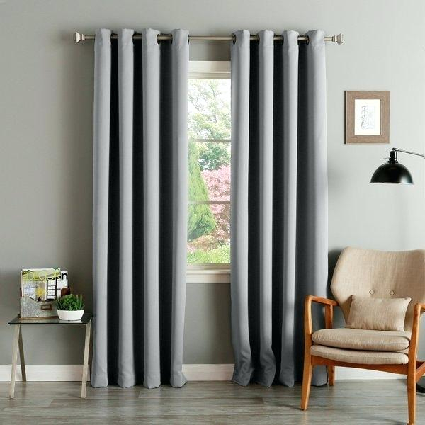 Curtains Grey Aurora Home Thermal Insulated Blackout Grommet With Regard To Insulated Thermal Blackout Curtain Panel Pairs (#20 of 50)