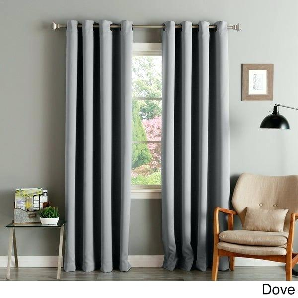 Curtains Grey Raw Silk Pearl For And Blue Room Walls Bedroom With Regard To Raw Silk Thermal Insulated Grommet Top Curtain Panel Pairs (#15 of 46)