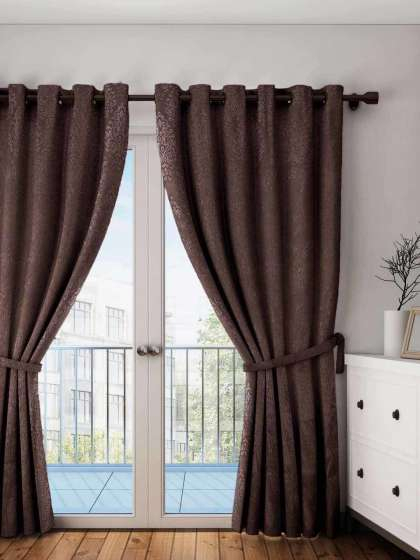 Curtains & Sheers – Buy Curtain & Sheer Online In India | Myntra Regarding Linen Button Window Curtains Single Panel (#16 of 40)