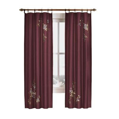 Curtainworks Semi Opaque Chocolate Asia Faux Silk Rod Pocket With Ofloral Embroidered Faux Silk Window Curtain Panels (View 7 of 50)