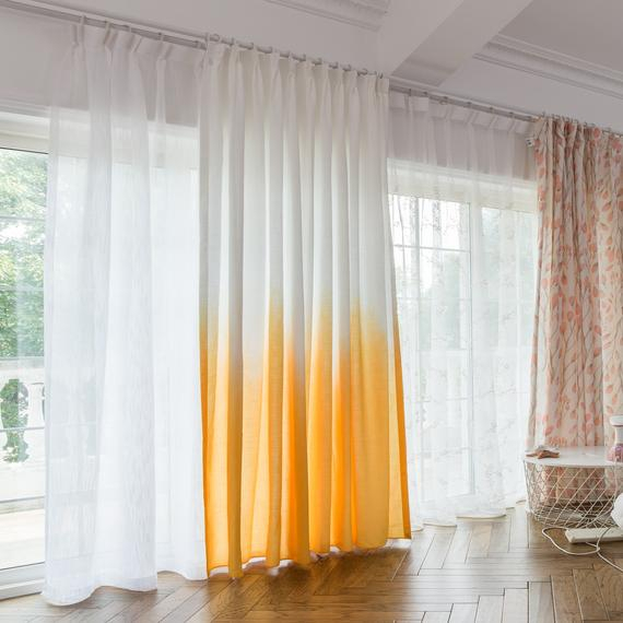 Custom Drapery, Fade Yellow, Ombre Curtain, Drapery Panel For Living Room Or Bedroom, Home Curtain Panel In Ombre Embroidery Curtain Panels (View 41 of 50)