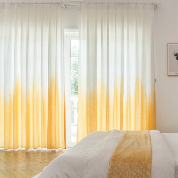 Custom Drapery, Fade Yellow, Ombre Curtain, Drapery Panel For Living Room Or Bedroom, Home Curtain Panel Inside Ombre Embroidery Curtain Panels (View 27 of 50)