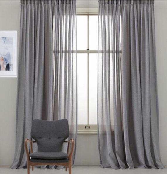 Custom Faux Sheer Linen Drapery Panels. Pinch Pleat, French Pleat, Inverted  Pleat. Grommet Top. Faux Linen Sheer Curtains (#16 of 50)