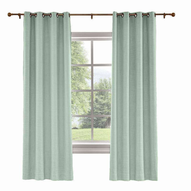 Custom Liz Aqua Polyester Linen Curtain Drapery With Lined Within Heavy Faux Linen Single Curtain Panels (View 11 of 32)