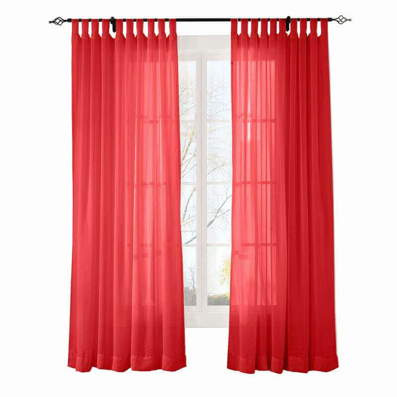 Custom Scandina Red Indoor Outdoor Sheer Curtain Voile Drapery With Tab Top Sheer Single Curtain Panels (#12 of 50)