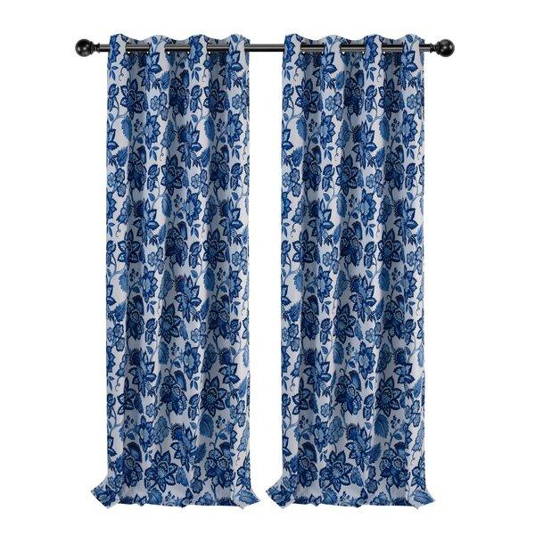 Cynthia Jacobean Blue Curtains | Wayfair Within Cynthia Jacobean Room Darkening Curtain Panel Pairs (#8 of 41)