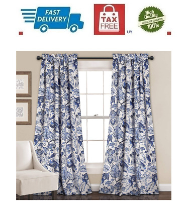 Cynthia Rowley Blue Floral Window Panel Drape Curtain (K31B With Regard To Cynthia Jacobean Room Darkening Curtain Panel Pairs (View 10 of 41)