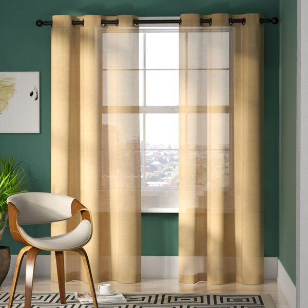 Cyrus Jeanette Solid Semi Sheer Grommet Curtain Panels Intended For Cyrus Thermal Blackout Back Tab Curtain Panels (#11 of 39)