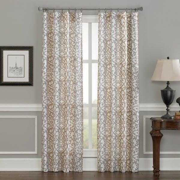 Inspiration about Damask Stripe Window Panel Within Miranda Haus Labrea Damask Jacquard Grommet Curtain Panels (#4 of 7)