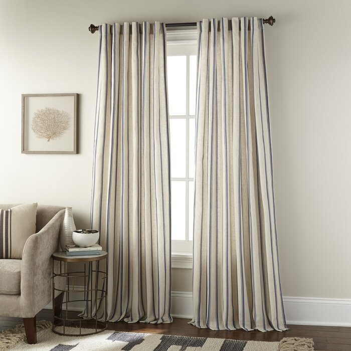 Damore Vertical Stripe Rod Pocket Single Curtain Panel For Single Curtain Panels (View 28 of 36)