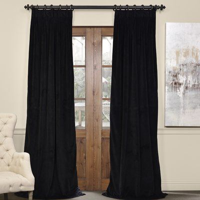 Inspiration about Darby Home Co Balone Solid Max Blackout Thermal Pinch Pleat With Regard To Warm Black Velvet Single Blackout Curtain Panels (#3 of 48)