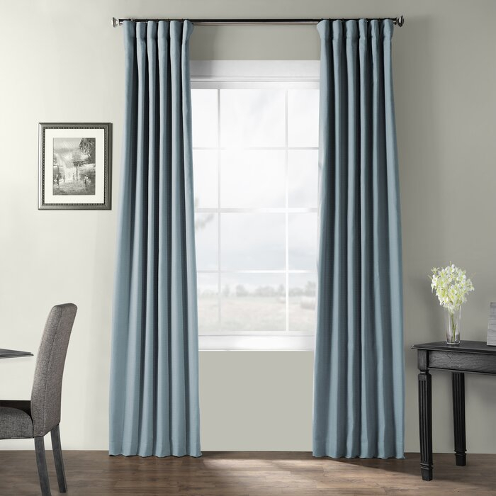 Dario Solid Cotton Textured Room Darkening Rod Pocket Single Curtain Panel For Solid Cotton Curtain Panels (#19 of 47)