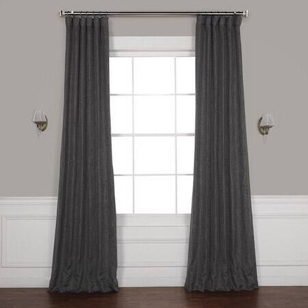 Inspiration about Dark Gravel Faux Linen Blackout Curtain – Cambridge Silk Fabric Inside Montpellier Striped Linen Sheer Curtains (#21 of 50)