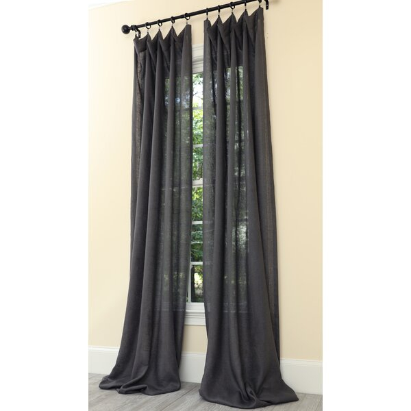 Dark Grey Linen Curtains | Wayfair Intended For Overseas Leaf Swirl Embroidered Curtain Panel Pairs (View 5 of 50)