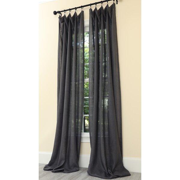 Dark Grey Linen Curtains   Wayfair Regarding Luxury Collection Venetian Sheer Curtain Panel Pairs (#14 of 36)
