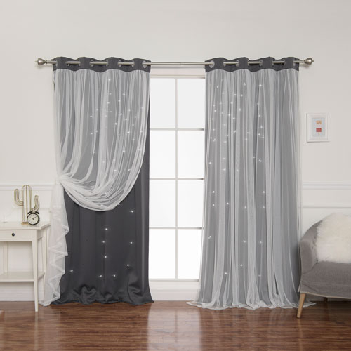 Dark Grey Tulle Overlay Star Cut Out 84 X 52 In (#27 of 50)