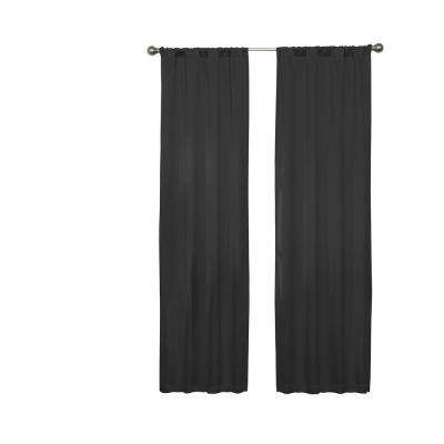 Inspiration about Darrell Blackout Window Curtain Panel In Black – 37 In. W X 63 In. L Intended For Warm Black Velvet Single Blackout Curtain Panels (#6 of 48)