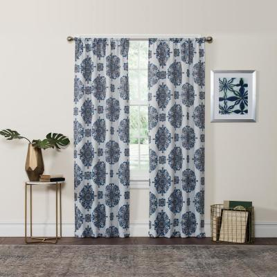 Inspiration about Darrell Blackout Window Curtain Panel In Sky – 37 In. W X 63 Intended For Eclipse Darrell Thermaweave Blackout Window Curtain Panels (#22 of 50)