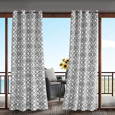 Inspiration about Daven Fretwork 3M Scotchgard Outdoor Panel Curtain – Gray Intended For Whitman Curtain Panel Pairs (#44 of 50)