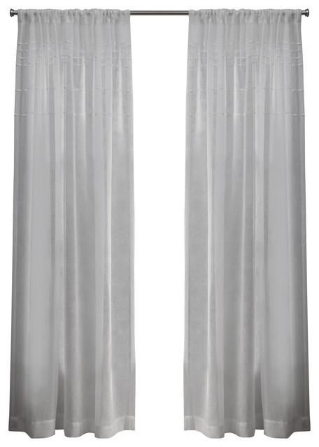"Inspiration about Davos Belgian Linen Sheer Rod Pocket Curtain, Set Of 2, Snowflake, 54""x84"" Regarding Tassels Applique Sheer Rod Pocket Top Curtain Panel Pairs (#13 of 45)"