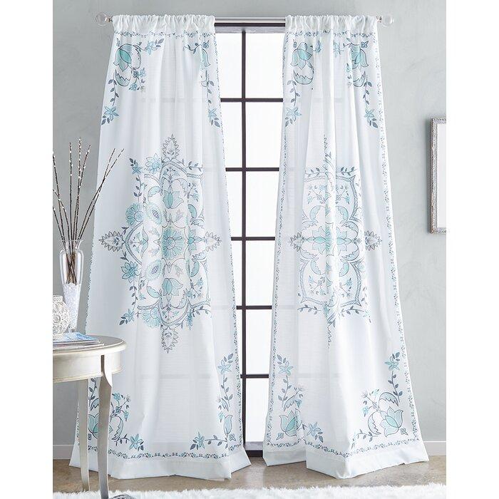 Debi Floral/flower Semi Sheer Rod Pocket Single Curtain Panel Intended For Light Filtering Sheer Single Curtain Panels (#10 of 38)