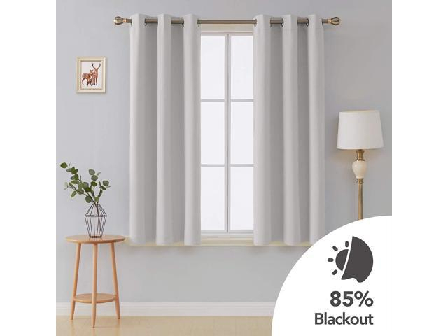 Deconovo Grommet Window Panels Thermal Insulated Curtains Room Darkening  Curtain 42X54 Inch Greyish White Two Curtain Panels – Newegg For Grommet Room Darkening Curtain Panels (View 14 of 50)