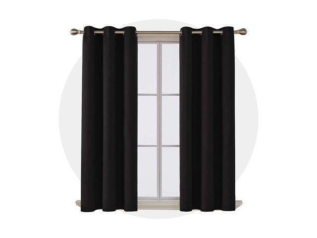 Deconovo Room Darkening Noise Reducing Thermal Insulated Grommet Window  Blackout Curtains For Living Room 2 Curtain Panels Pair Black 42X63 Inch – Regarding Insulated Grommet Blackout Curtain Panel Pairs (View 19 of 50)