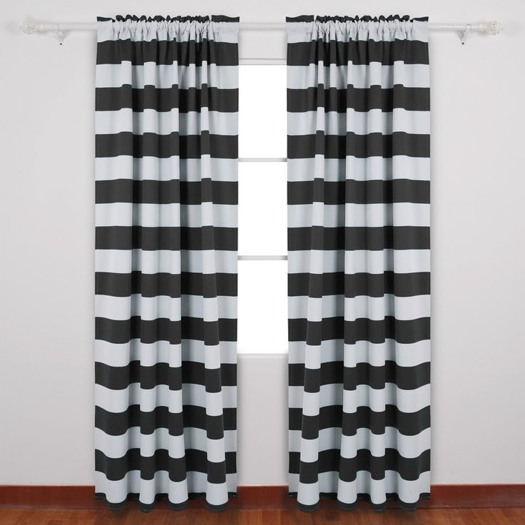 Deconovo Striped Blackout Curtains Rod Pocket Black And With Elegant Comfort Luxury Penelopie Jacquard Window Curtain Panel Pairs (View 16 of 50)