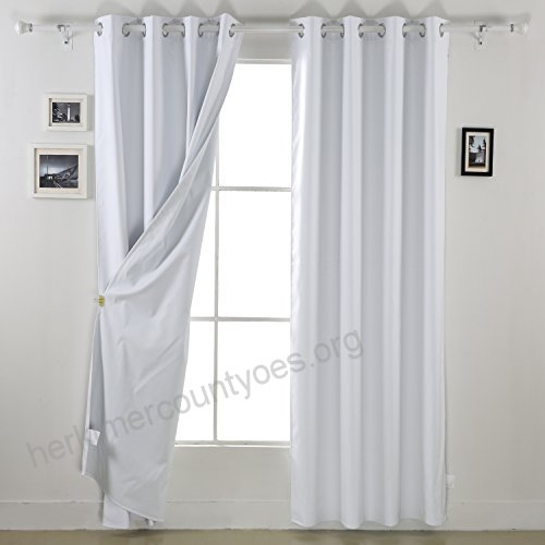 Deconovo White Blackout Curtains Pair Thermal Insulated Throughout Solid Thermal Insulated Blackout Curtain Panel Pairs (View 35 of 50)
