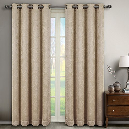 Inspiration about Deluxe Energy Efficient & Room Darkening. Pair Of Two Top Intended For Embossed Thermal Weaved Blackout Grommet Drapery Curtains (#32 of 42)
