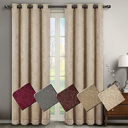 Inspiration about Deluxe Energy Efficient & Room Darkening. Pair Of Two Top Throughout Embossed Thermal Weaved Blackout Grommet Drapery Curtains (#19 of 42)