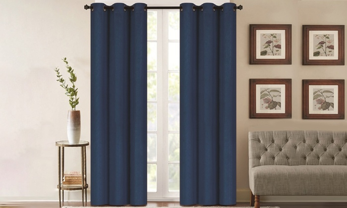 """Denver Embossed Blackout Panel Pair (76"""" X 84"""") Throughout Silvertone Grommet Thermal Insulated Blackout Curtain Panel Pairs (#13 of 35)"""