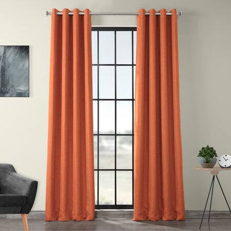 Inspiration about Desert Orange Faux Linen Grommet Blackout Room Darkening Curtain Intended For Faux Linen Blackout Curtains (#45 of 50)