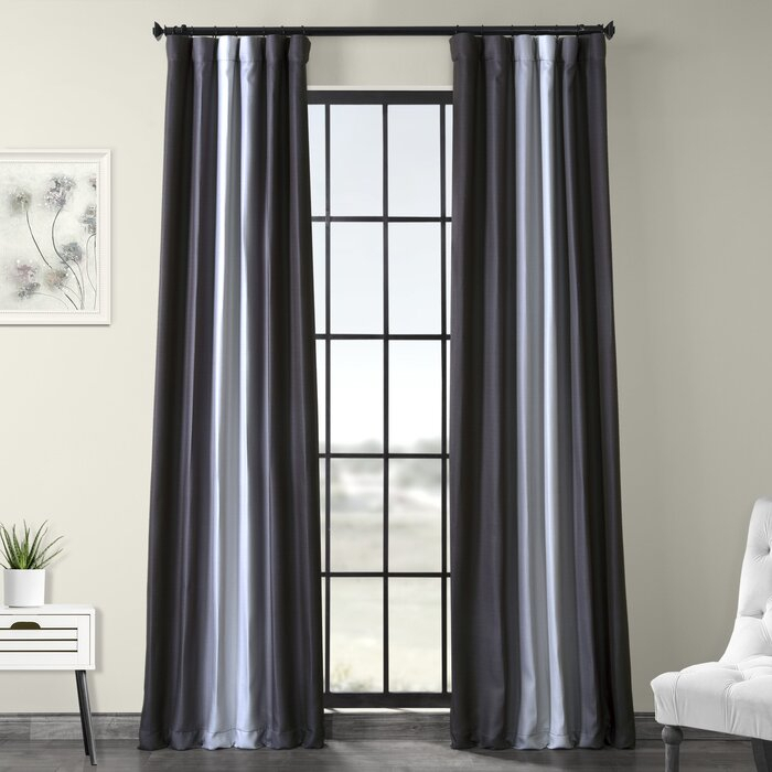 Inspiration about Deshields Parallel Printed Textured Blackout Rod Pocket Single Curtain Panel In Luxury Collection Faux Leather Blackout Single Curtain Panels (#4 of 42)