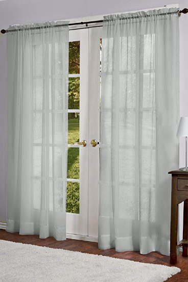 """Design Decor Belgian Woven Curtain Panels Set/2 White Textured Rod Pocket  40X84"""" Pertaining To Belgian Sheer Window Curtain Panel Pairs With Rod Pocket (View 15 of 46)"""