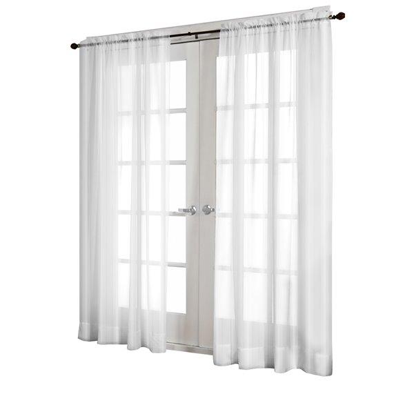 Design Decor Rosalind Textured Semi Sheer 96 In Off White Polyester Rod  Pocket Light Filtering Semi Sheer Single Curtain Panel Intended For Light Filtering Sheer Single Curtain Panels (#11 of 38)